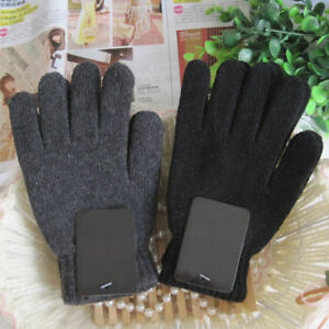Autumn & Winter Men's Knitted Gloves Male Thicken Thermal Wool Gloves Mittens ID