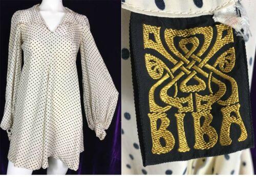 RARE Late 60s Early 70s BIBA Polkadot Mini Dress P