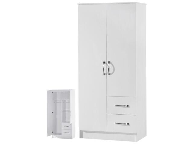 Marina High Gloss White Combi Wardrobe 2 Door 2 Drawer  Marina Bedroom Furniture