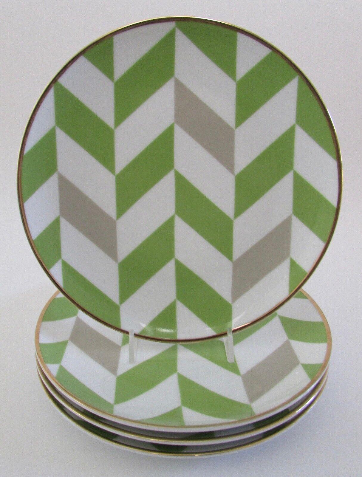 C Wonder New York Green Chevron 8  Plates Set of 4