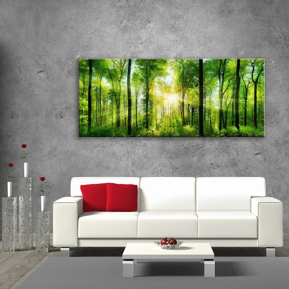 Wall art glass Print photo Unique Home Decor cadeau vert forêt cm 125x50