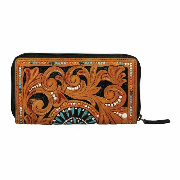 New Myra Bag RFID Bellezza Hand Tooled Brown Turquoise Leather Wallet Western