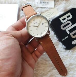 Fossil-5275-The-Commuter-Cream-Dial-Brown-Leather-Men-039-s-Watch