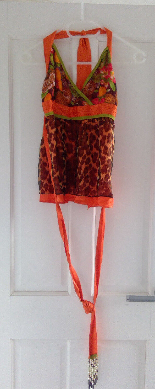 Tiziano Mazzilli Orange floral and animal print silk halter top - Größe M