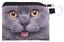 chat petit porte-monnaie//détient cartes bancaires//petits bibelots Kukubird British bleu