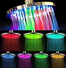 XXL LED Duschkopf 20cm Rund - 7 Farben Farbwechsel Regenbrause Duschbrause NEU