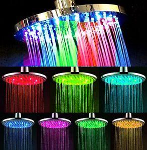 xxl led duschkopf 20cm rund 7 farben farbwechsel regenbrause duschbrause neu ebay. Black Bedroom Furniture Sets. Home Design Ideas
