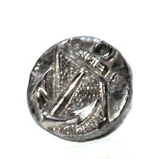 petit bouton ancien en verre noir et argenté ancre marine 12mm button