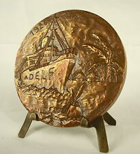 Medaille Outre-mer écrivains & langue française bateau boat World map 68mm medal