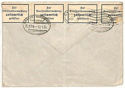 Ae99 1935 Germany Resealed Cover *berlin-hannover* Railway Tpo Oxford {samwells}