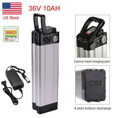 36V 10Ah SilverFish Lithium Battery for 350W Electric Bicycles 4 Ports Bottom