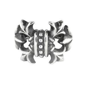 Amuleto-rebeligion-True-plata-para-PULSERA-DE-CUERO-NEGRO-ROCK-Large-Lily-Collar