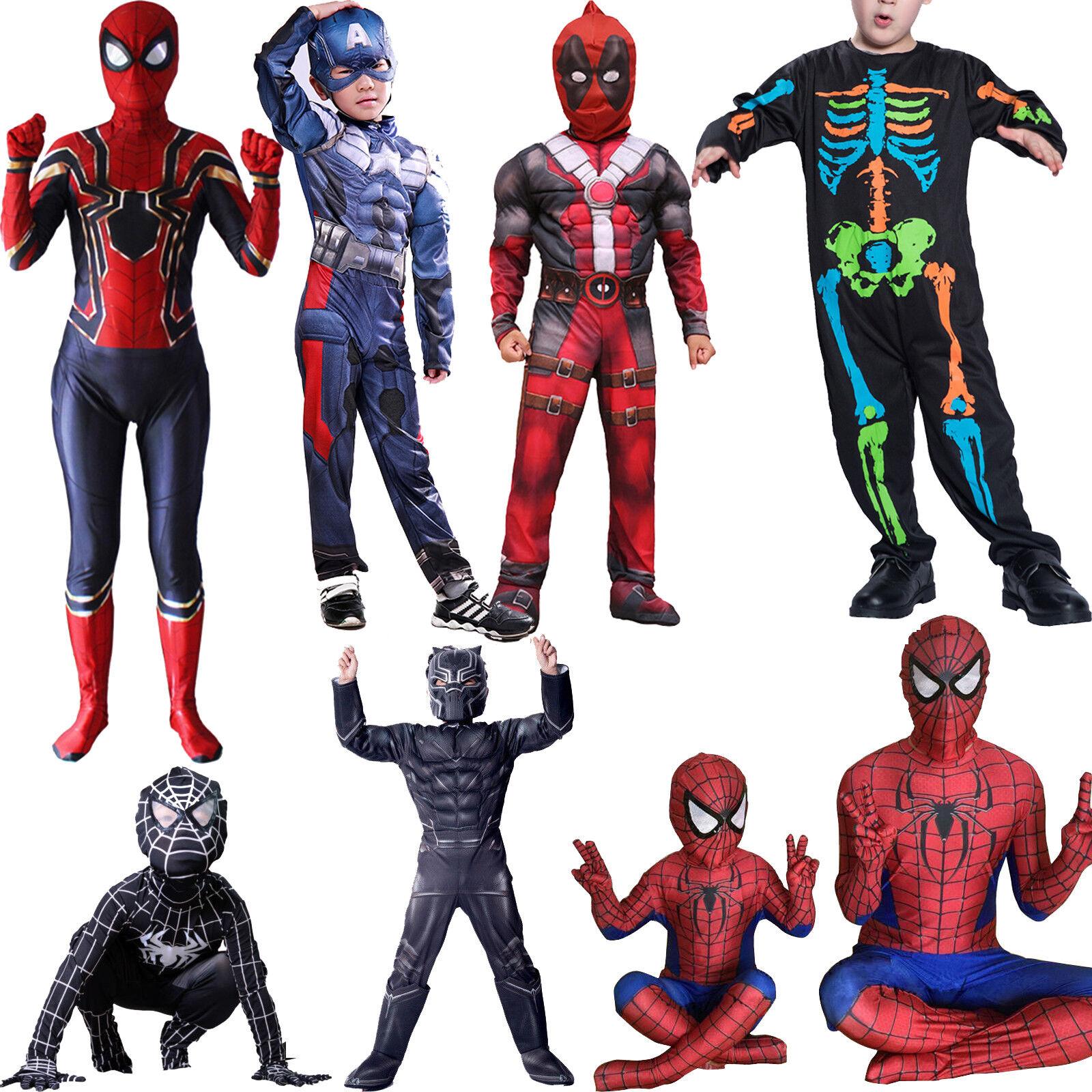 Kids Boy Superhero Spiderman Deadpool Marvel Costume Cosplay Fancy Dress Outfits