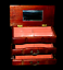 miniature 3 - Vintage Wooden Jewellery Box Pink Velvet Lined Two Drawers and Opening Lid Rare
