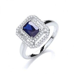 aff96f9c80c2 La imagen se está cargando Cuadrado-Azul-Zafiro-Anillo-Compromiso -Deslumbrante-Piedra-Preciosa-