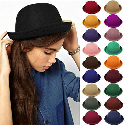 Fashion Women Wool Hat Felt Cloche Vintage Trendy Cute Ladies Derby Bowler Cap