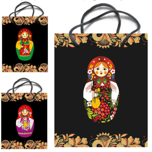 "Russian Bags Kraft Paper Gift Bag With Handles /""Matryoshka/"" Black"