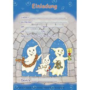 Das Bild Wird Geladen 12 Einladungen 12 Umschlaege Geister Gespenst  Gruselparty Kindergeburtstag