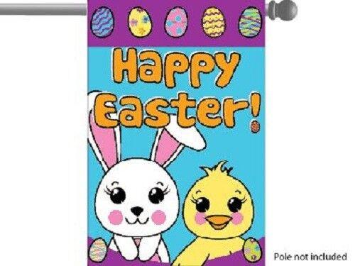"""Joyeuses Pâques Bunny Rabbit Jardin Maison Banner//Drapeau 28/""""X40/"""" à manches partyflag"""