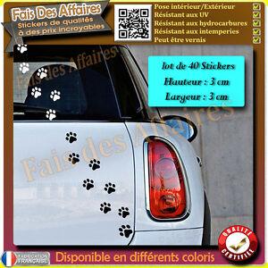 40 stickers autocollant empreinte TRACES PATTES DE CHAT deco voiture frigo ipad