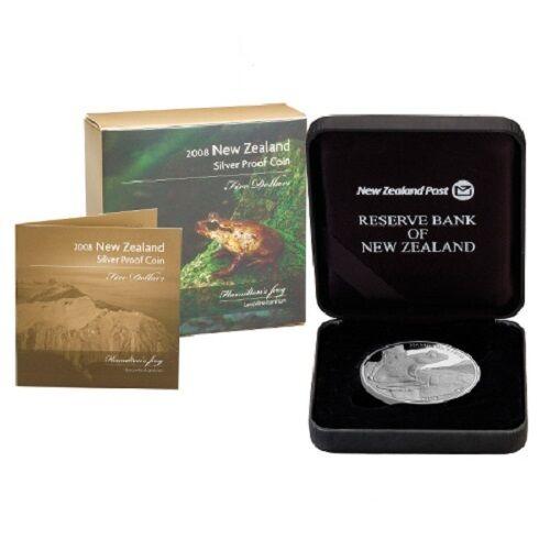 Silver $5 Dollars Proof Coin 2008 Rare!!! 1 OZ Hamilton Frog New Zealand