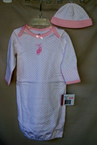 LITTLE ME 100/% Cotton White /& Pink Ballerina GOWN w//Hat GIRL SIZES 0//3M NWT