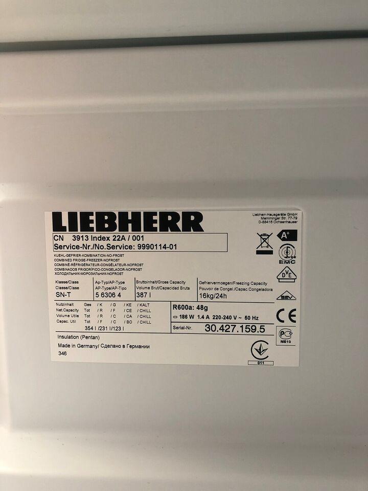 Køle/fryseskab, Liebherr CN 3913, 354 liter