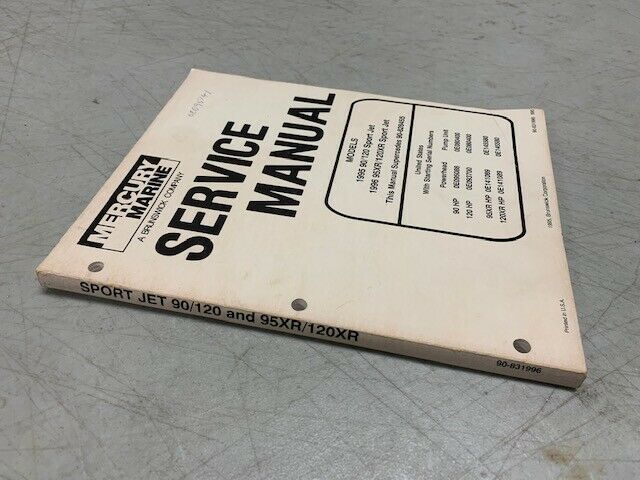 Mercury Mariner Sport Jet 90 120 95xr 120xr Factory Shop Service Repair Manual