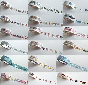 10m-Washi-Masking-Tape-Klebeband-Reispapier-Basteln-Tiere-Natur-Motive-DIY