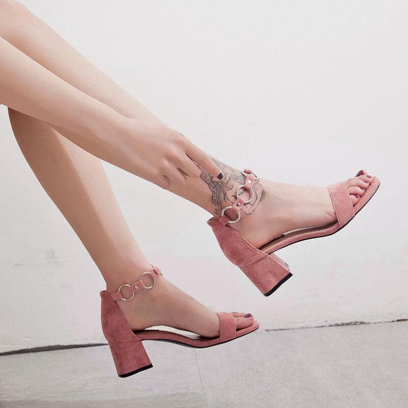 Sandalias 5 5 5 cm elegantes rosadodo talón cuadrado sandalias como piel 1116  promociones de descuento