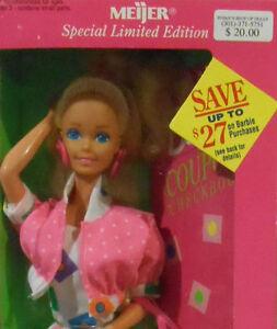1992 Mattel Blonde Shopping Fun Barbie-Meijer Spcl Ltd Ed #10051-Age 3+