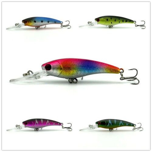 1pc Fishing Lure Fish Bass Bait 8# Fishing Tackle Hook 8g 9cm Floating Sea