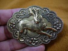 (b-bun-4) Bunny wild rabbit little Foo Foo hopping hare flower pin pendant