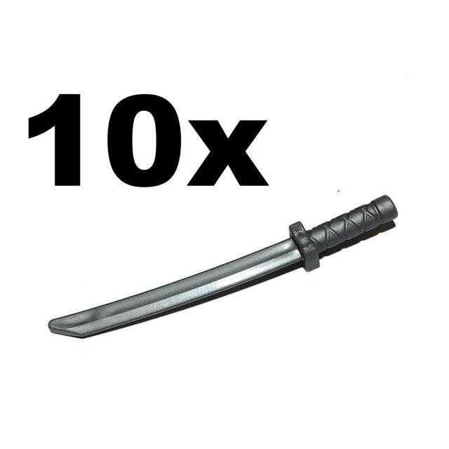 NEW LEGO - Weapon - sword - Katana / Shamshir Flat Silver x 10 Ninja Ninjago