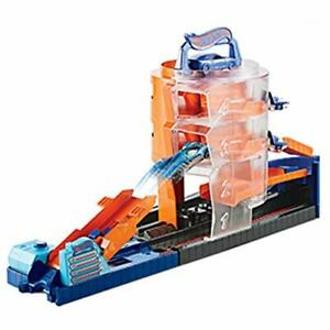 Hot-Wheels-GBF95-City-Downtown-Super-Spin-concesionario-Playset-Multi-Color