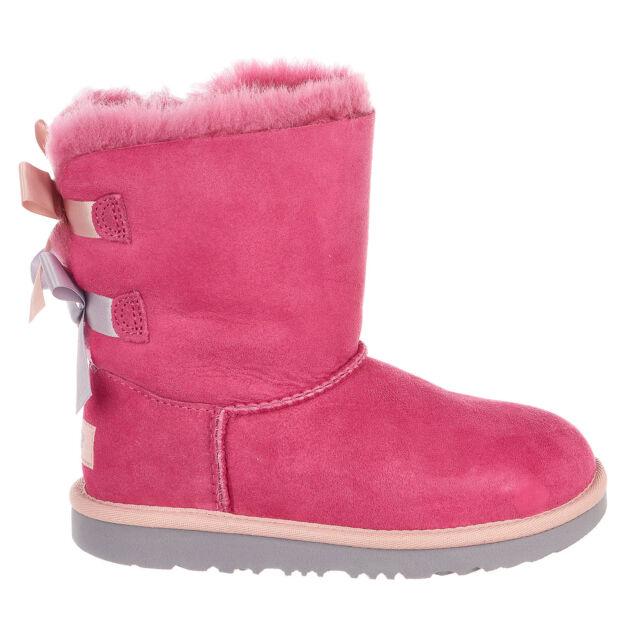6e599262843 UGG Australia 1017394k Kid's Bailey Bow II Boot Pink Azalea / Icelandic  Blue 6