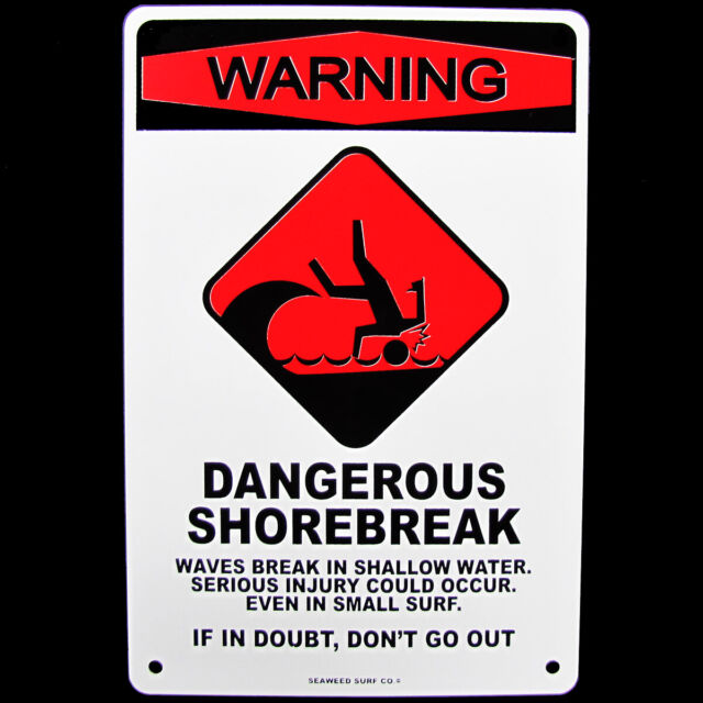 Tin SHARK SIGHTING BEACH CLOSED Surfer Warning Sign Bar//Pub//Surf Shop Wall Decor
