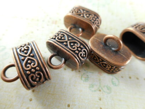 16 Antique Copper Decorative Oval Leather Cord Ends Findings 60790