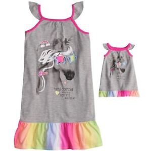 ac0f82c8d6 Girl 4-14 and Doll Matching Unicorn Nightgown Clothes ft American ...