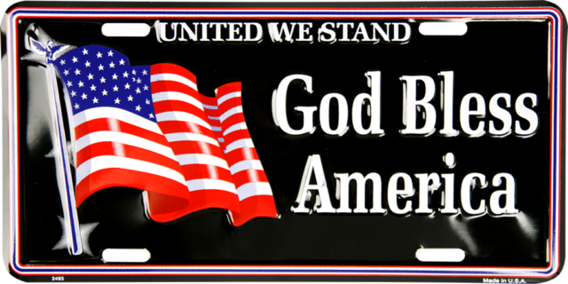 United We Stand God Bless America Usa Us American Flag License Plate