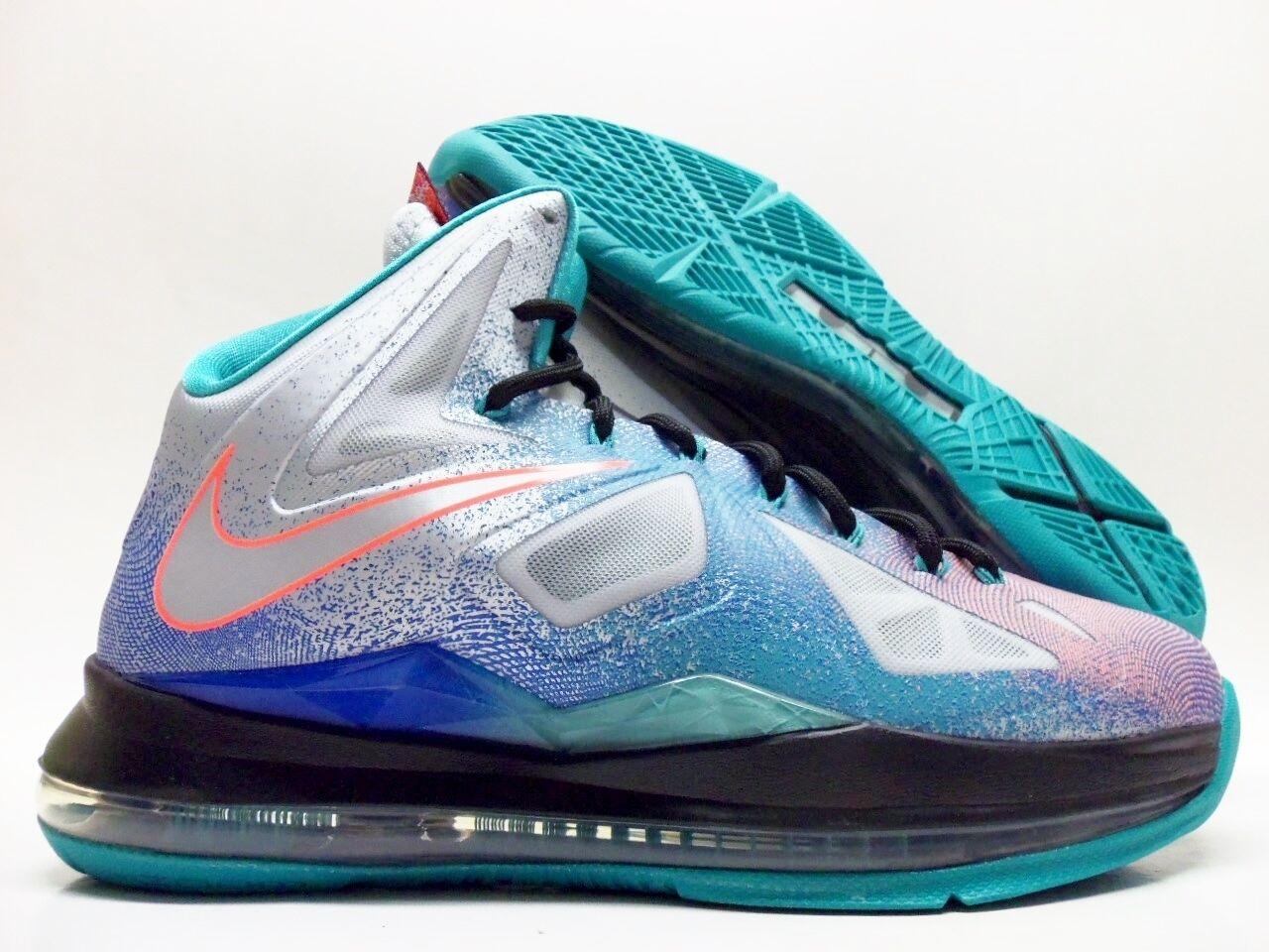 Nike lebron x il rientro di puro platino / nero-sport turq sz uomini 8 [541100-008]