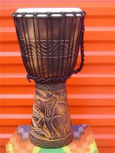 SALE - 20x11 Deep Carved Djembe Bongo Drum ELEPHANTS M8 + FREE COVER