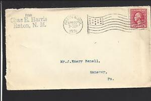 RATON-NEW-MEXICO-1921-COVER-FLAG-MACHINE-CL-TO-HANOVER-PA-COLFAX-CO-1880-OP