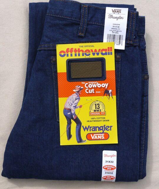 Vans X Wrangler 13 Mvz Off The Wall Denim Jeans Pants Cowboy Cut Blue Mens 31 32 For Sale Online Ebay