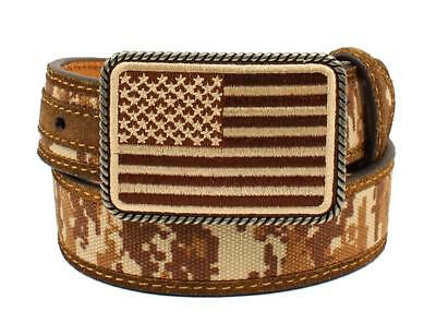 Ariat Western Boys Belt Kids Leather USA Flag Buckle Camo A1306044 Size 26