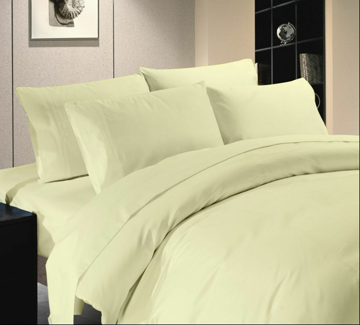 1000TC Egyptian Cotton Ivory Solid Bed Skirt Select Drop Length All US Sizes