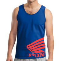 Honda Wing Tank Top Blue T-shirt Motorcycle Racing Crf 250 450 600rr Trx Cbr
