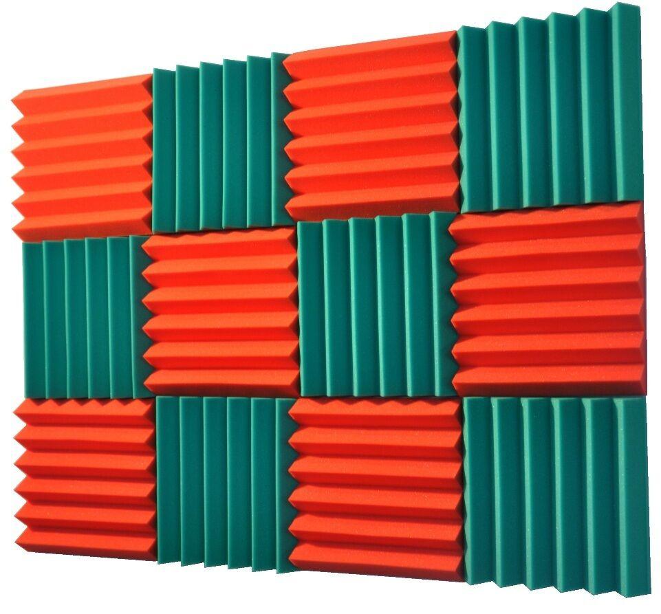 2x12x12 (12 Pk) TEAL orange Acoustic Wedge Soundproofing Studio Foam Tiles