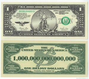 (100) ZILLION Dollar Novelty Money Bills - Funny Gag Joke ~ looks real!