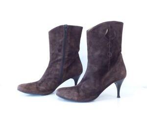 femme talons Vagabond cuir brun véritable Vintage daim à en Uk5 pour en Bottines aiguilles fw7Y8xpx